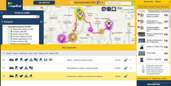 Działanie planera Portalu Turystyki Aktywnej map4U. Lista przygotowanych wycieczek