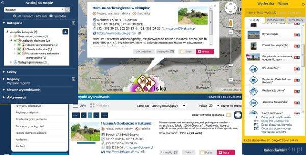 Działanie planera Portalu Turystyki Aktywnej map4U. Widok obiektów na planerze