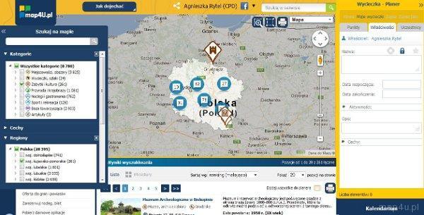 Działanie planera Portalu Turystyki Aktywnej map4U. Widok planera