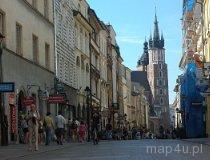 Kraków. Widok na ulicę Floriańską i kościół Mariacki (fot. Piotr Wojtaszek)